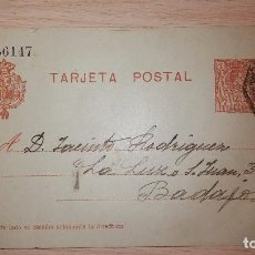 Francobolli: ANTIGUA TARJETA POSTAL ALFONSO XIII, CALAMONTE-BADAJOZ, DIRIGIDA A BAZAR LA LUZ, AÑO 1920. Lote 119321415
