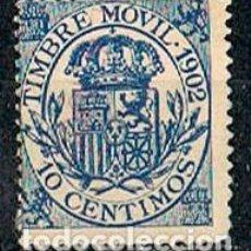 Sellos: FILATELIA FISCAL, TIMBRE MOVIL 1902, AO CENTIMOS AZUL, NUEVO CON SEÑAL DE CHARNELA. Lote 120120423