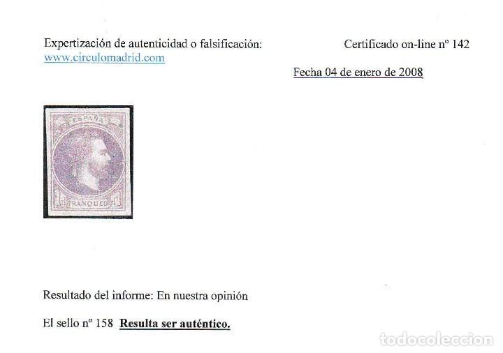Sellos: AÑO 1874. EDIFIL 158 NUEVO. CORREO CARLISTA. DICTAMEN AUTENTICIDAD . VC 450 EUROS - Foto 2 - 120382307