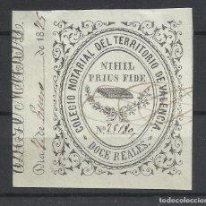 Sellos: COLEGIO NOTARIAL DEL TERRITORIO DE VALENCIA 12 REALES USADO 1875. Lote 120726875
