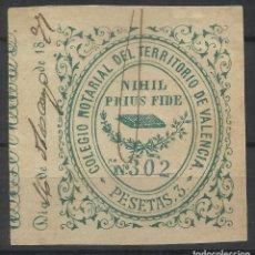 Sellos: COLEGIO NOTARIAL DEL TERRITORIO DE VALENCIA 3 PTS USADO 1877. Lote 120726943