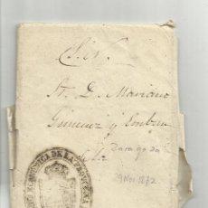 Sellos: CIRCULADA Y ESCRITA 1872 DE ZARAGOZA MARCA ADMINISTRACIÓN ECONOMICA DE LA PROVINCIA DE ZARAGOZA. Lote 122059055