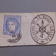 Sellos: ESPAÑA - 1870 - GOBIERNO PROVISIONAL - EDIFIL 107- FECHADOR Y SELLO DE LA VILLA - SOBRE FRAG.- LUJO.. Lote 124560279