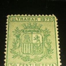 Sellos: ESPAÑA CLÁSICO ULTRAMAR 1875 ESCUDO DE ESPAÑA 50CTS. Lote 130828976