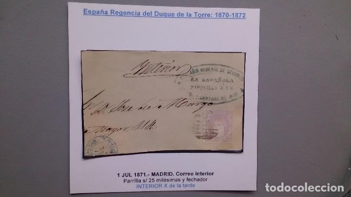 ESPAÑA - SOBRE AÑO 1871 - MADRID - CORREO INTERIOR - PARRILLA EN 25 MLS Y FECHADOR INTERIOR. (Sellos - España - Otros Clásicos de 1.850 a 1.885 - Usados)