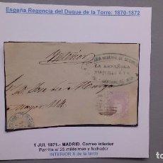 Sellos: ESPAÑA - SOBRE AÑO 1871 - MADRID - CORREO INTERIOR - PARRILLA EN 25 MLS Y FECHADOR INTERIOR.. Lote 132501370