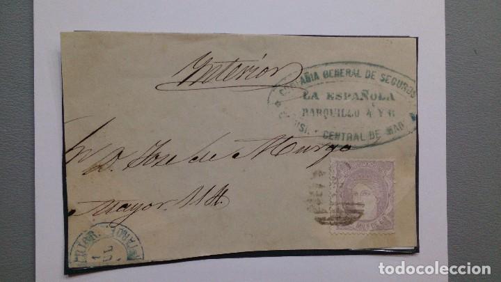 Sellos: ESPAÑA - SOBRE AÑO 1871 - MADRID - CORREO INTERIOR - PARRILLA EN 25 MLS Y FECHADOR INTERIOR. - Foto 2 - 132501370