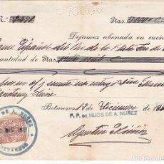 Sellos: F27-45-FISCALES BONITO PAGARÉ HIJOS DE A NUÑEZ BETANZOS CORUÑA 1900. Lote 133465358