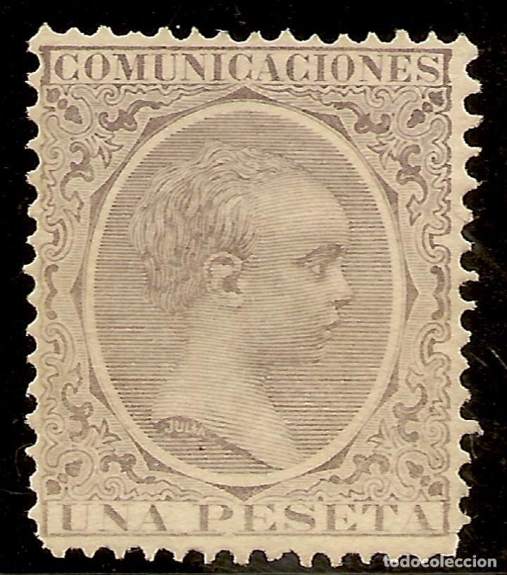 ESPAÑA EDIFIL 226** MNH 1 PESETA VIOLETA ALFONSO XIII EL PELÓN 1889/99 NL1216 (Sellos - España - Otros Clásicos de 1.850 a 1.885 - Nuevos)