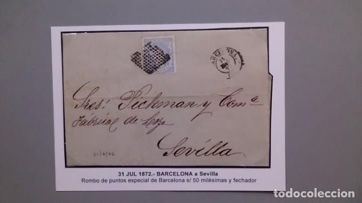 ESPAÑA - CARTA COMPLETA - 31 JULIO 1872 - ROMBO PUNTOS ESPECIAL BARCELONA SELLO 50M Y FECHADOR (Sellos - España - Otros Clásicos de 1.850 a 1.885 - Cartas)