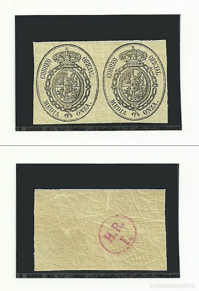 1855, EDIFIL 35, PAREJA DE MEDIA ONZA, NUEVOS DE LUJO, CON GOMA Y SIN CHARNELA (Sellos - España - Otros Clásicos de 1.850 a 1.885 - Nuevos)