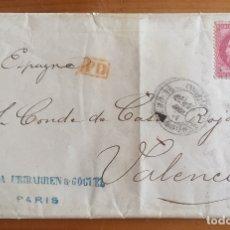 Sellos: CARTA PARIS- VALENCIA 1.871 CONDE DE CASA ROJAS. Lote 136027262