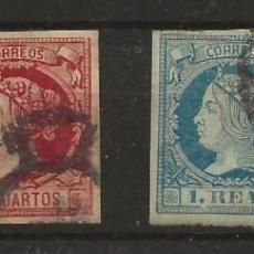 Sellos: R60/ ESPAÑA 1860-1861, ISABEL II, CATALOGO 54,00€, EDIFIL 52/3 - 55/6. Lote 139221086