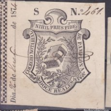 Sellos: DD9- FISCALES COLEGIO NOTARIAL PAMPLONA . DOCE REALES 1874. Lote 143820402