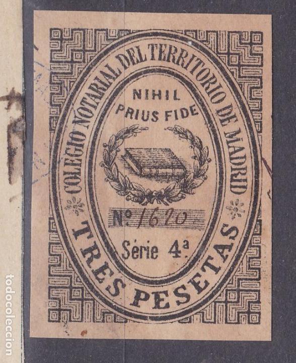 DD15- FISCALES COLEGIO NOTARIAL MADRID 3 PTAS (Sellos - España - Otros Clásicos de 1.850 a 1.885 - Nuevos)