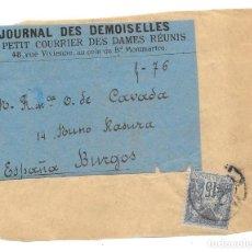 Sellos: FAJA DE PRENSA. DE PARIS - FRANCIA A BURGOS. 1891. Lote 145190458