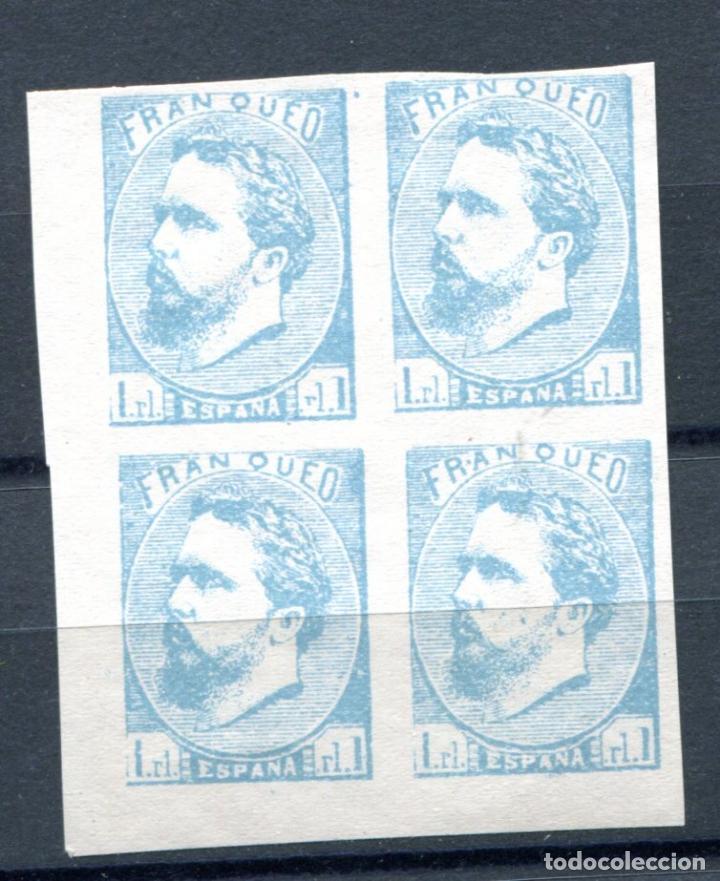 EDIFIL 156. FALSO FILATÉLICO. CARLOS VII, VASCONGADAS, EN BLOQUE DE 4. NUEVO SIN GOMA (Sellos - España - Otros Clásicos de 1.850 a 1.885 - Nuevos)
