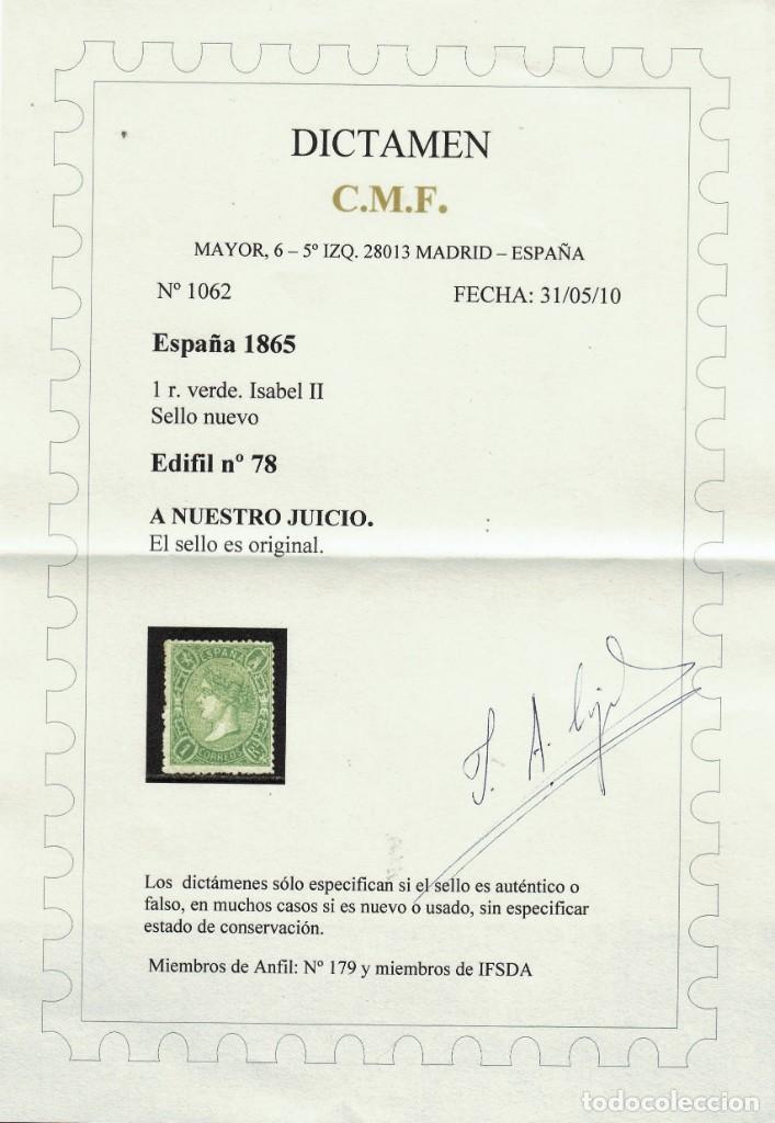 Sellos: 1865.ESPAÑA. EDIFIL 78*.NUEVO.DICTAMEN AUTENTICIDAD. CAT 2450 € - Foto 2 - 148535334