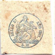 Sellos: PÓLIZA EN SECO, SELLO 3º 4 REALES, 1861.. Lote 150478974