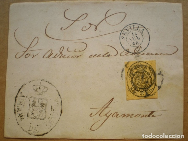 FRONTAL CARTA EDIFIL 35 DEL AÑO 1855 MARCA ADUANA SEVILLA (RARA) Y RUEDA CARRETA (Sellos - España - Otros Clásicos de 1.850 a 1.885 - Cartas)