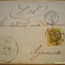 Sellos: FRONTAL CARTA EDIFIL 35 DEL AÑO 1855 MARCA ADUANA SEVILLA (RARA) Y RUEDA CARRETA. Lote 155215834