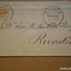 Sellos: ENVUELTA CARTA AÑO 1882 A CORUÑA RIVADEO FECHADOR CORUÑA EDIFIL 210 Y RIVADEO REVERSO LUGO BORROSO. Lote 155254946