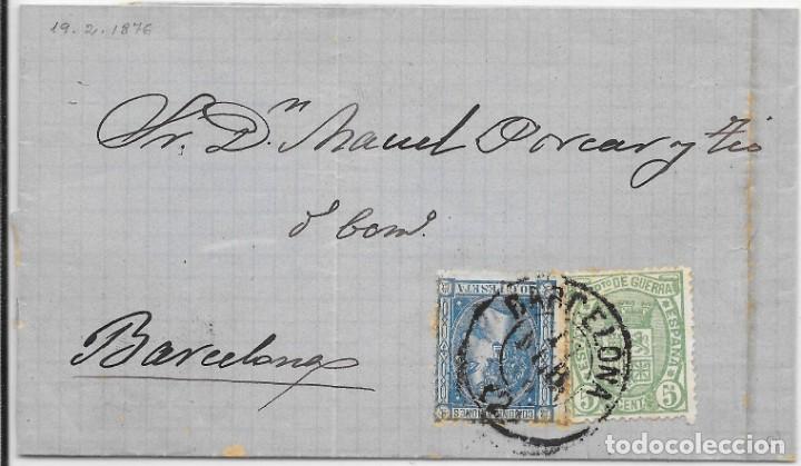 EDIFIL Nº 164 - 154. ENVUELTA CIRCULADA DE PALMA DE MALLORCA A BARCELONA. 1876 (Sellos - España - Otros Clásicos de 1.850 a 1.885 - Cartas)