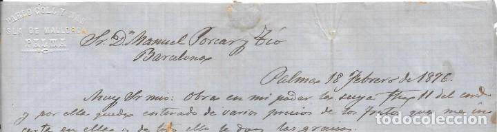 Sellos: EDIFIL Nº 164 - 154. ENVUELTA CIRCULADA DE PALMA DE MALLORCA A BARCELONA. 1876 - Foto 2 - 161701562