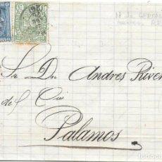 Sellos: EDIFIL Nº 164 - 154. ENVUELTA CIRCULADA DE GERONA A PALAMOS. 1876. Lote 161701930