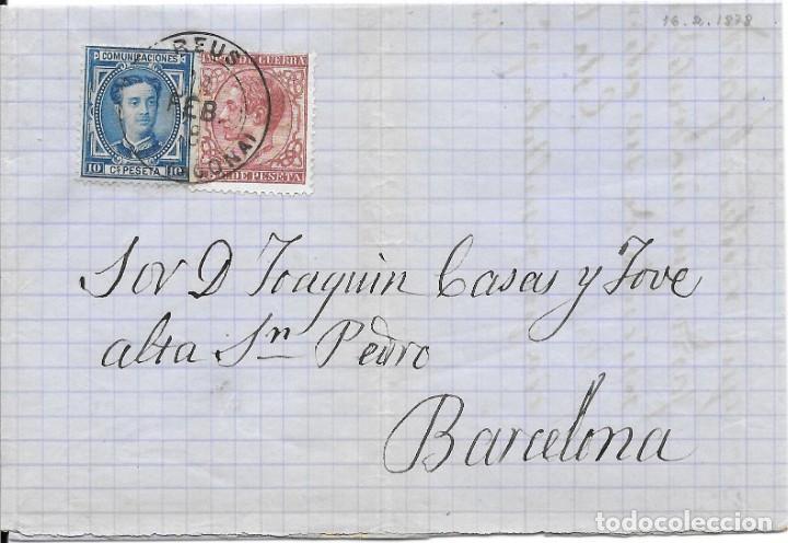EDIFIL Nº 175 - 188. ENVUELTA CIRCULADA DE REUS - TARRAGONA A BARCELONA. 1878 (Sellos - España - Otros Clásicos de 1.850 a 1.885 - Cartas)