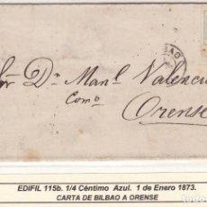 Selos: HP5-24- CARTA IMPRESOS COMISIONISTA BILBAO - ORENSE 1873. LISTA DE PRODUCTOS Y PRECIOS. Lote 162384402