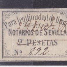 Sellos: CC5-PARAFISCALES . LEGITIMIDAD DE FIRMAS . NOTARIOS SEVILLA 2 PTAS 1888. Lote 163365618