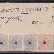 Selos: SS35- ESPECTACULAR FRAGMENTO TELÉGRAFOS FILIPINAS- N YORK. RARO FRANQUEO. Lote 163581754
