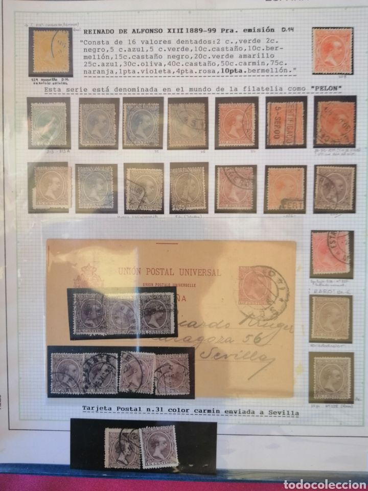 Sellos: Colección España 1850/1899 clásicos siglo XIX 30 hojas años 90 lote tal fotos - Foto 12 - 164513216