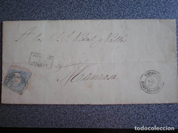 CARTA COMPELETA AÑO 1871 EDIFIL 107 FECHADOR MONTBLANCH A MANRESA MARCADA DESPUÉS DE LA SALIDA (Sellos - España - Otros Clásicos de 1.850 a 1.885 - Cartas)