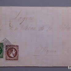 Sellos: ESPAÑA - 1875 - CARLOS VII - CARTA COMPLETA - EDIFIL 160 Y 161 - ALDEA GUEMES (CANTABRIA) A LOGROÑO.. Lote 176976203