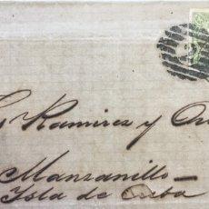 Sellos: CARTA CIRCULADA DE BARCELONA A MANZANILLO (CUBA) AÑO 1865. Lote 177265809