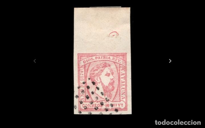 ESPAÑA - 1874 - CARLOS VII - EDIFIL 157 - BORDE DE HOJA - ROMBO DE PUNTOS - VALOR CATALOGO +150€ (Sellos - España - Otros Clásicos de 1.850 a 1.885 - Usados)
