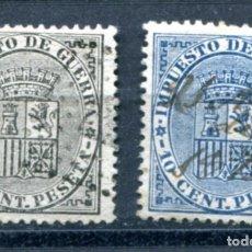 Sellos: EDIFIL 141/142. ESCUDO DE ESPAÑA. SERIE COMPLETA. MATASELLADOS.. Lote 180123956