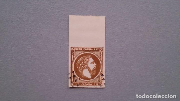 ESPAÑA - 1875 - CARLOS VII - EDIFIL 161 - LUJO - BORDE DE HOJA - VALOR CATALOGO 145€. (Sellos - España - Otros Clásicos de 1.850 a 1.885 - Usados)