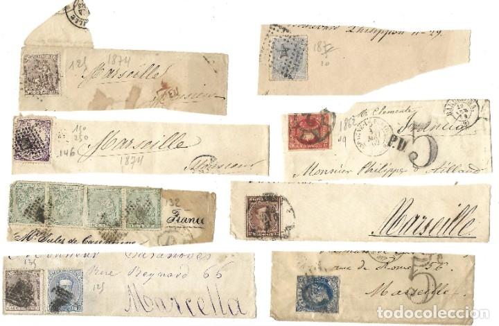 LOTE HISTORIA POSTAL ESPAÑA A FRANCIA ISABEL II, AMADEO 1872, ALEGORÍA REPÚBLICA Y ALFONSO XII (Sellos - España - Otros Clásicos de 1.850 a 1.885 - Cartas)