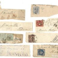 Sellos: LOTE HISTORIA POSTAL ESPAÑA A FRANCIA ISABEL II, AMADEO 1872, ALEGORÍA REPÚBLICA Y ALFONSO XII. Lote 182715043