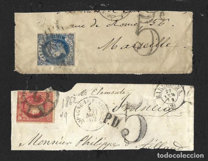 Sellos: LOTE HISTORIA POSTAL ESPAÑA A FRANCIA ISABEL II, AMADEO 1872, ALEGORÍA REPÚBLICA Y ALFONSO XII - Foto 2 - 182715043