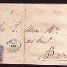 Sellos: GIROEXLIBRIS.- SPAIN.- GOBIERNO PROVISIONAL - CARTA CIRCULADA DESDE TORTOSA (TARRAGONA) A BARCELONA. Lote 183550626