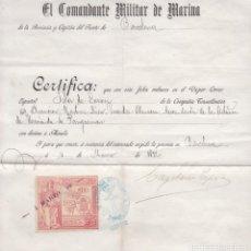 Sellos: GPC-2- FISCALES CERTIFICADO DE EMBARQUE EN EL VAPOR CORREO ISLA DE LUZÓN 1892. Lote 185225096