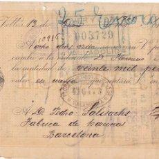Sellos: GPC-9- FISCALES GIRO LA VELLES SALAMANCA CON SELLO 20 PTAS GIRO. 1902. Lote 187171150