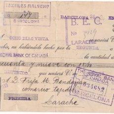 Sellos: GPC-9- FISCALES GIRO A LARACHE CON SELLOS, ESPAÑA Y MARRUECOS . Lote 187171395
