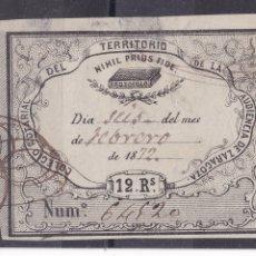 Sellos: LL7-FISCALES COLEGIO NOTARIAL AUDIENCIA ZARAGOZA 12 REALES 1872. Lote 187652571