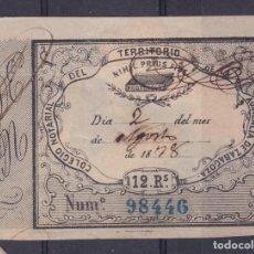 Sellos: AA14- PARAFISCALES COLEGIO NOTARIAL AUDIENCIA ZARAGOZA 12 REALES. 1878. Lote 191138811