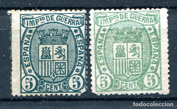 EDIFIL 154 2 SELLOS DIFERENTES COLORES, IMPUESTO DE GUERRA AÑO 1875. NUEVOS SIN GOMA (Sellos - España - Otros Clásicos de 1.850 a 1.885 - Nuevos)